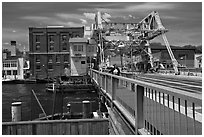 On the Mystic River Bascule Bridge. Mystic, Connecticut, USA ( black and white)