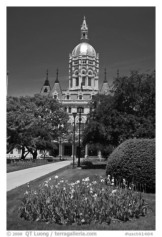 Gardens and Connecticut Capitol. Hartford, Connecticut, USA (black and white)