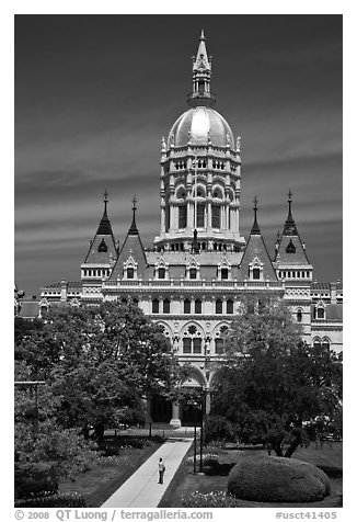 Connecticut Capitol. Hartford, Connecticut, USA (black and white)
