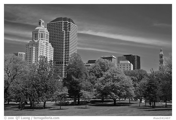 Hartford skyline and Bushnell Park. Hartford, Connecticut, USA (black and white)