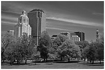 Hartford skyline and Bushnell Park. Hartford, Connecticut, USA ( black and white)