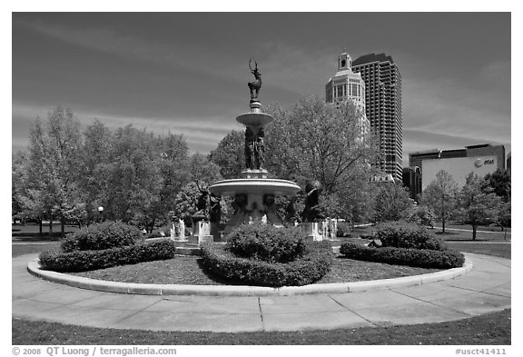 Fountain in Bushnell Park. Hartford, Connecticut, USA (black and white)