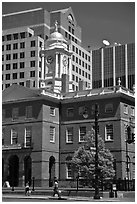 Old State house and modern buildings. Hartford, Connecticut, USA (black and white)