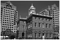 Old State House and downtown high-rise buildings. Hartford, Connecticut, USA (black and white)
