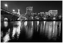 Night skyline and bridge over Connecticut River. Hartford, Connecticut, USA (black and white)