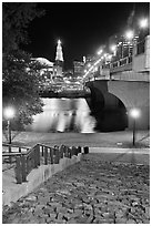 Quay by Connecticut River and nighttime skyline. Hartford, Connecticut, USA ( black and white)