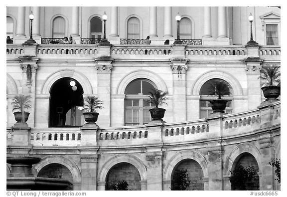 Detail of the facade of the Capitol. Washington DC, USA (black and white)