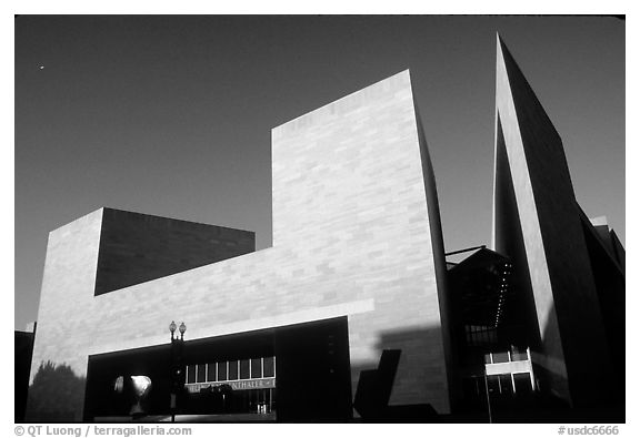 East Building of the National Gallery, designed by Pei. Washington DC, USA (black and white)