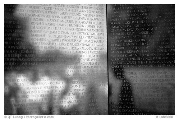 Vietnam Veterans Memorial with the names of the 58022 American casualties from the Vietnam War. Washington DC, USA (black and white)