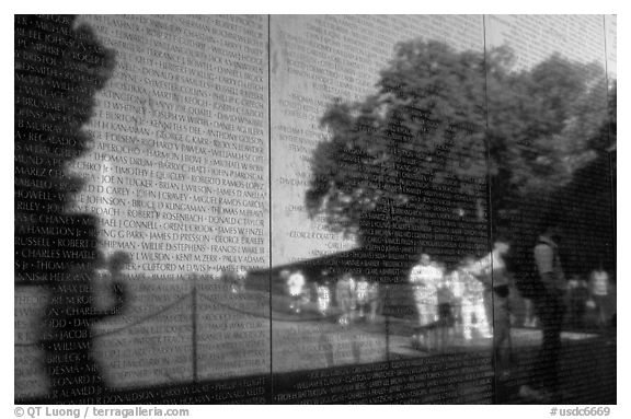 The Wall, Vietnam Veterans Memorial. Washington DC, USA (black and white)