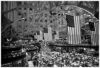 Historic hall with American flags. Washington DC, USA (black and white)