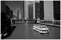 Chicago River and tour boat. Chicago, Illinois, USA (black and white)
