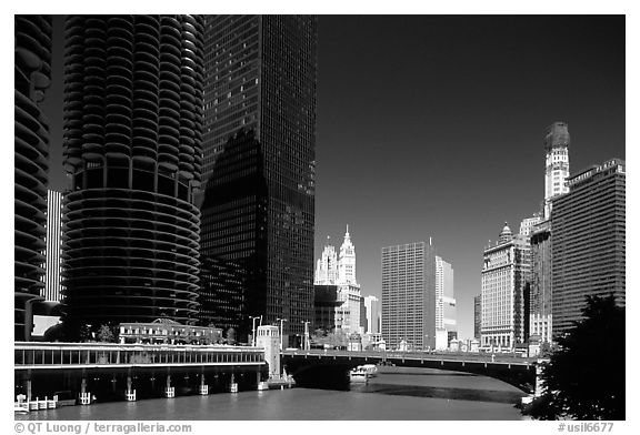 Chicago River flowing through downtown. Chicago, Illinois, USA (black and white)
