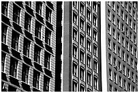 Architectural detail of facades. Chicago, Illinois, USA (black and white)