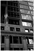 Reflections in a building facade. Chicago, Illinois, USA (black and white)