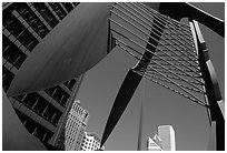Modern sculpture and buildings. Chicago, Illinois, USA (black and white)