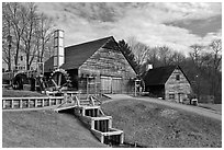 Forge and mill buildings, Saugus Iron Works National Historic Site. Massachussets, USA ( black and white)