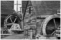 Waterwheels on mill and forge, Saugus Iron Works National Historic Site. Massachussets, USA ( black and white)