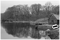 Winter reflections, Saugus River, Saugus Iron Works National Historic Site. Massachussets, USA (black and white)
