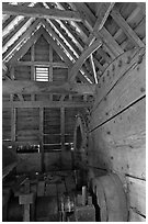 Forge interior, Saugus Iron Works National Historic Site. Massachussets, USA ( black and white)