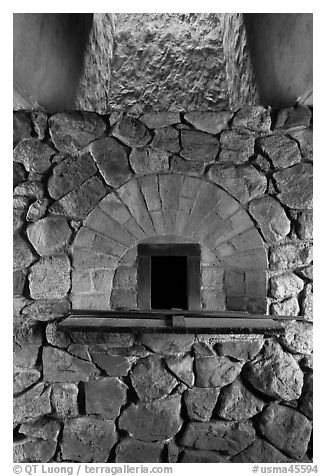 Finery forge hearth, Saugus Iron Works National Historic Site. Massachussets, USA (black and white)