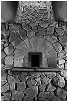 Finery forge hearth, Saugus Iron Works National Historic Site. Massachussets, USA ( black and white)