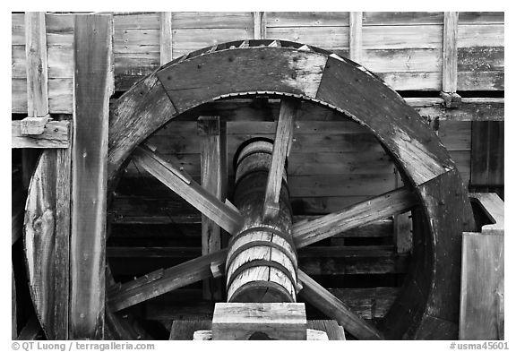 Close up of high breastshot wheel, Saugus Iron Works National Historic Site. Massachussets, USA (black and white)
