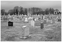 Cemetery in winter. Salem, Massachussets, USA (black and white)