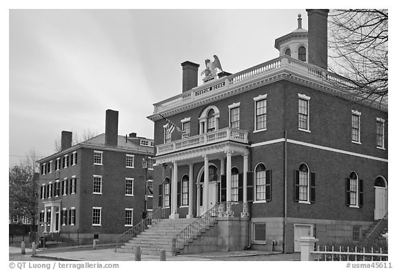 Custom House, 1819, Salem Maritime National Historic Site. Salem, Massachussets, USA (black and white)