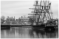 Sail ship and waterfront, Salem Maritime National Historic Site. Salem, Massachussets, USA (black and white)