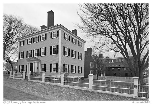 Hawkes House, Salem Maritime National Historic Site. Salem, Massachussets, USA (black and white)