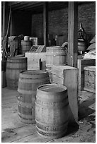 Interior of public stores warehouse, Salem Maritime National Historic Site. Salem, Massachussets, USA (black and white)