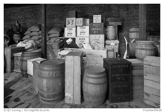 Chests and barrels, public stores, Salem Maritime National Historic Site. Salem, Massachussets, USA (black and white)