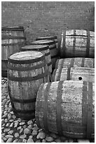 Barrels outside public stores, Salem Maritime National Historic Site. Salem, Massachussets, USA (black and white)