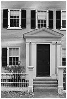 Entrance door, Hawkes House, Salem Maritime National Historic Site. Salem, Massachussets, USA (black and white)