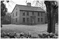 Ebenezer Fiske House in winter, Minute Man National Historical Park. Massachussets, USA (black and white)