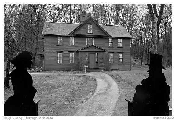 Louisa May Alcott Orchard House, Concord. Massachussets, USA (black and white)