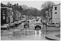 Main street in the rain, Concord. Massachussets, USA ( black and white)