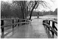 North Bridge leading to Minute Man statue, Minute Man National Historical Park. Massachussets, USA (black and white)