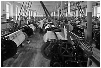 Textile Looms, Boott Cottom Mills Museum, Lowell National Historical Park. Massachussets, USA (black and white)