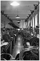 Power looms, Boott Cottom Mills Museum, Lowell National Historical Park. Massachussets, USA ( black and white)