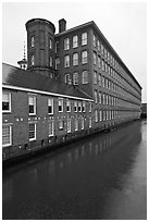 Boott Cottom Mills and canal, Lowell National Historical Park. Massachussets, USA ( black and white)