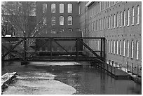 Eastern Canal and Boots Mills, Lowell National Historical Park. Massachussets, USA ( black and white)