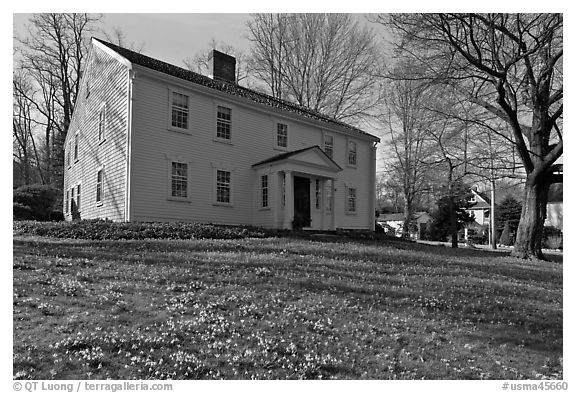 Historic house with early blooms in front yard, Sandwich. Cape Cod, Massachussets, USA (black and white)