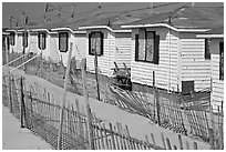 Row of boarded up cottages, Truro. Cape Cod, Massachussets, USA (black and white)
