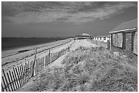 Cottages and beach, Truro. Cape Cod, Massachussets, USA (black and white)