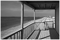 Porch and beach, Truro. Cape Cod, Massachussets, USA (black and white)