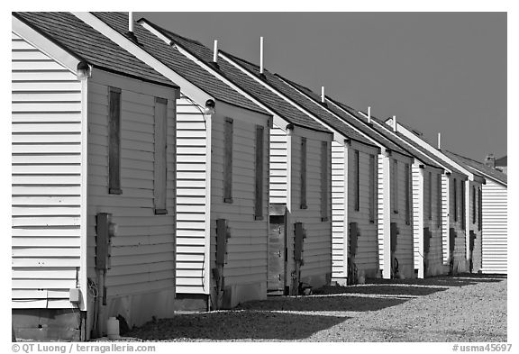 Row of cottages, Truro. Cape Cod, Massachussets, USA (black and white)
