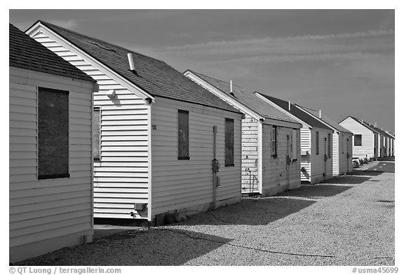 Day Cottages, Truro. Cape Cod, Massachussets, USA (black and white)