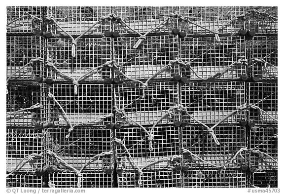 Lobster traps, Truro. Cape Cod, Massachussets, USA (black and white)